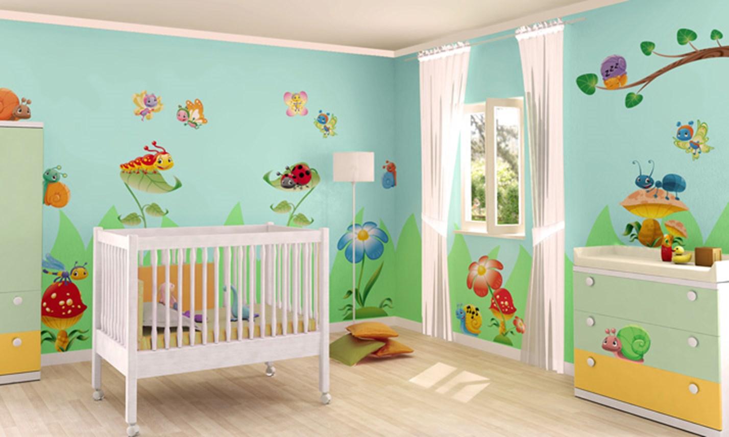 Stickers murali bambini cameretta amici del giardino leostickers - Adesivi per mobili bambini ...